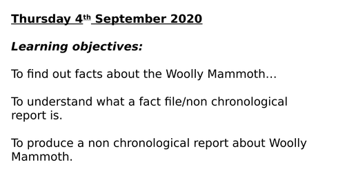 WOOLY MAMMOTHS FACTUAL POWERPOINT _ STONE AGE TOPIC