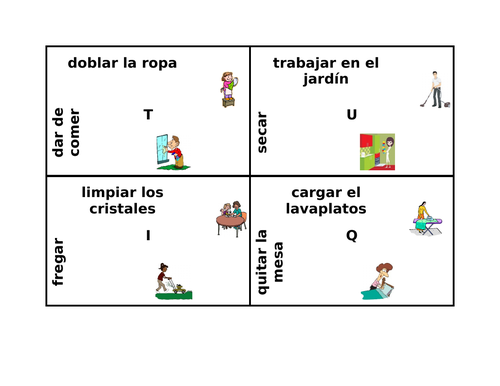 Quehaceres (Chores in Spanish) 4 by 4