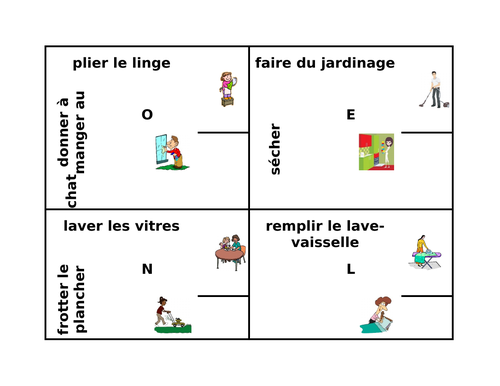 Travaux domestiques (Chores in French) Corvées 4 by 4