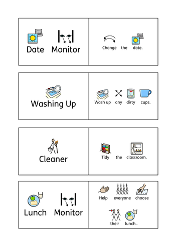 SEN Classroom Job Roles (Widgit)