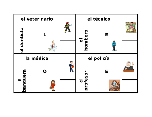 Profesiones (Professions in Spanish) 4 by 4