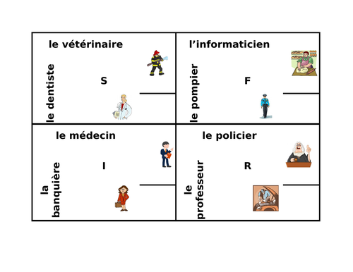 Professions in French 4 by 4