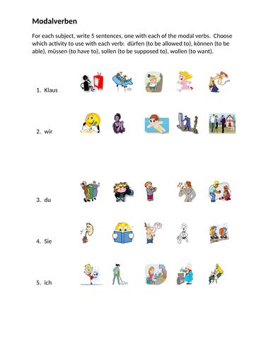 German Modal Verbs Worksheet