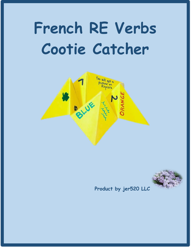 RE Verbs in French Verbes RE Cootie Catcher