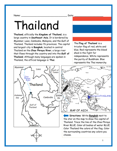 THAILAND - Printable worksheet