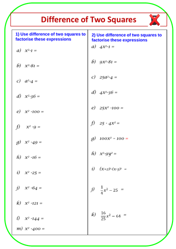 Algebra Factorising Difference of two squares   Teaching ...