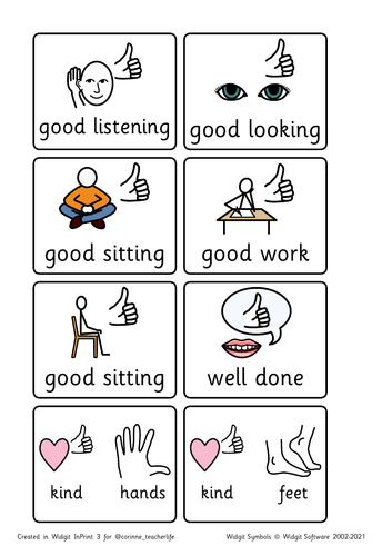 Positive behaviour reinforcers - small widgit symbols, lanyard