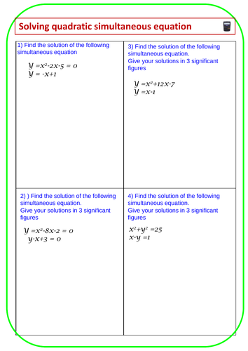 Solving Simultaneous Quadratic Equations