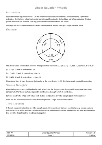 Wheels - Linear Equations between points