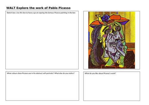 Picasso Worksheet- Exploring the work of Picasso
