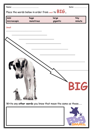 Semantic Gradient Activity - BIG TO SMALL - Ideal for EAL/ESL/EFL/ELL Students