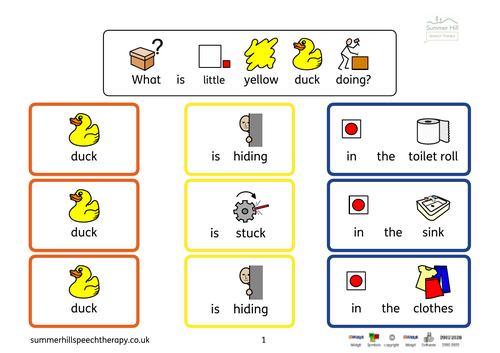 Widgit Symbol Colourful Semantics for Usborne Find the Duck