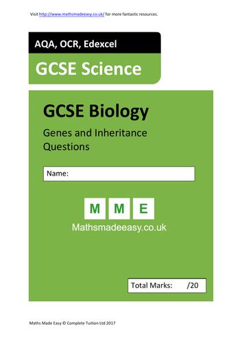 Inheritance & Genetics (Punnet Squares & Pedigree Diagrams)