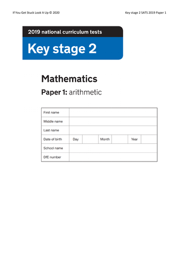 Key Stage 2 Maths 2019 Paper 1 Arithmetic (on single sheet)