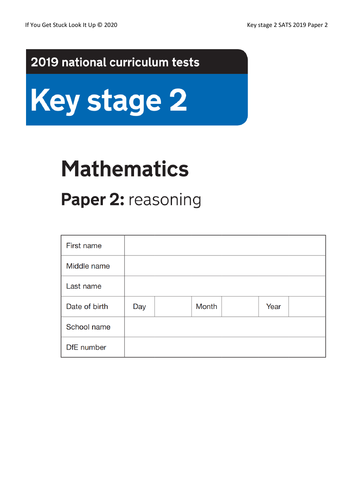 Key Stage 2 Maths 2019 Paper 2 Reasoning (reduced from 24 to down to 8 sheets)