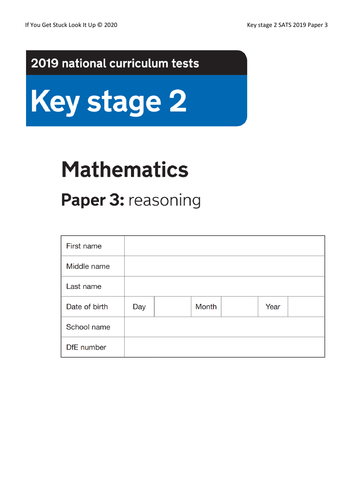 Key Stage 2 Maths 2019 Paper 3 Reasoning (reduced from 24 to down to 8 sheets)
