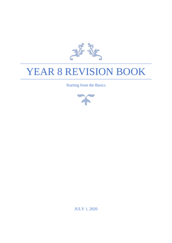 Year 8 Maths Revision Booklet