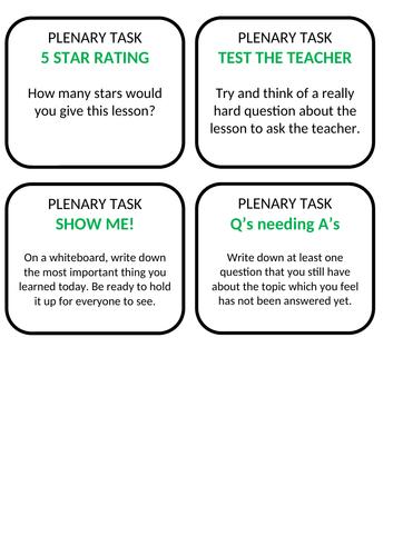 PLENARY TASK IDEAS