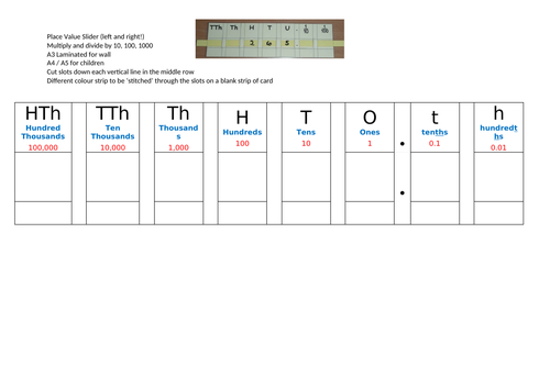 Place Value Slider (left and right)