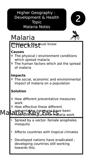 Higher Geography - Development & Health (Malaria)