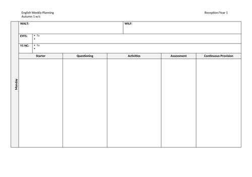 Weekly English Planning Template