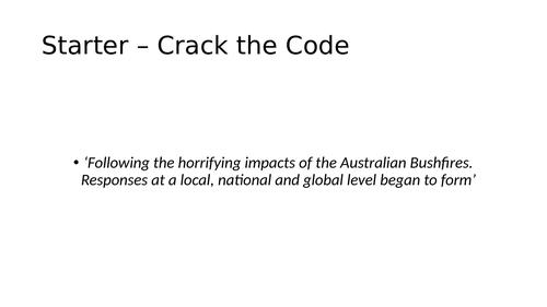 The Response to the 2019/2020 Australian Bushfires