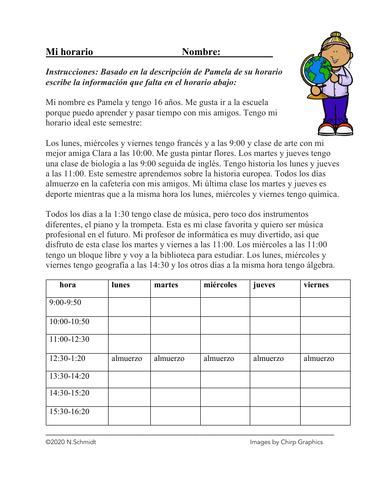 Mi horario Lectura de las Materias / Clases: School Schedule Reading + Worksheet