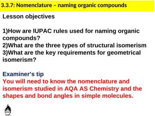AQA A-level Chemistry Nomenclature and Isomerism