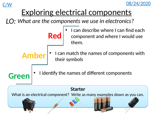 Exploring Electrical Components (Lesson 1 of WJEC Electronics Course)
