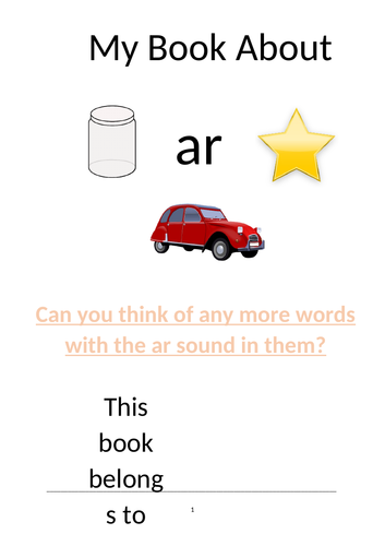 Phonics resource to teach children the sound 'ar' in Phase 3