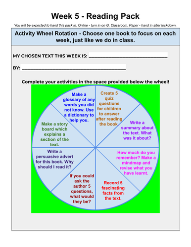Home Learning Reading Activity Wheel