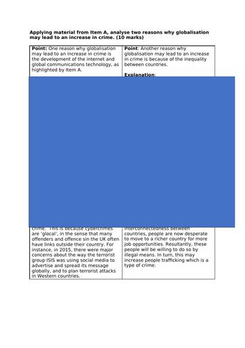 AQA A Level Sociology- Globalisation & crime 10 marker