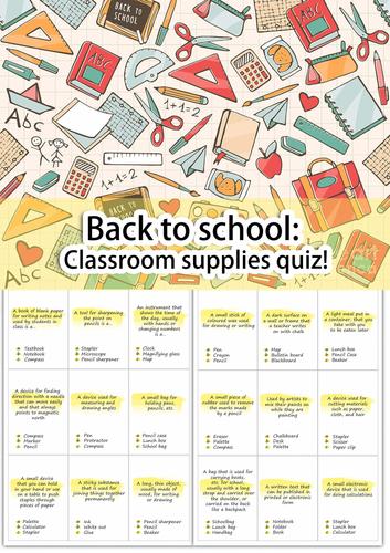 Back to school: Classroom supplies quiz!