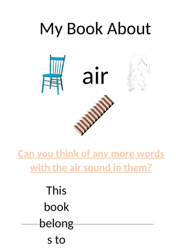 Phonics resource to teach children the sound 'air' in Phase 3