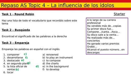 AS Revision - Topic 4 - La influencia de los ídolos