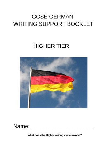 Higher German writing booklet AQA