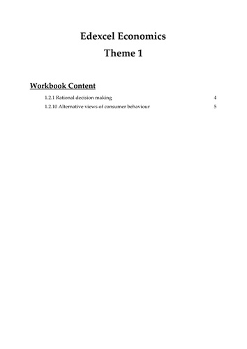 Edexcel Economics Theme 1: 1.2.1 &1.2.10 Rational decision making and alt view of consumer behaviour