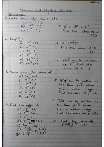 Fractional & Negative Indices 9-1 GCSE Worksheet & Answers