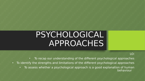Health & social care: Psychological approaches