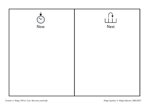 Now and next - school with widgit symbols