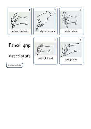 Pencil grip descriptor lanyard flashcards
