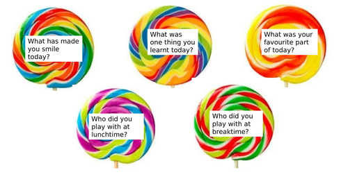 End of day reflection lollipop questions