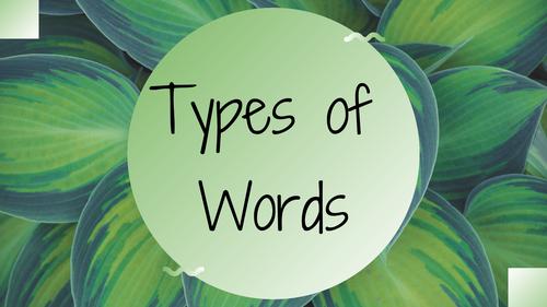 Grammar - types of words