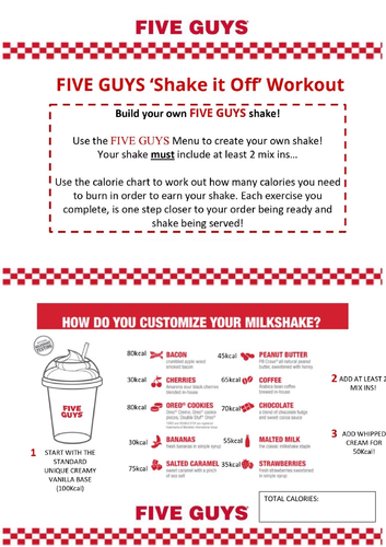 Five Guys Fitness Themed Workout - Socially Distance / Minimal Equipment