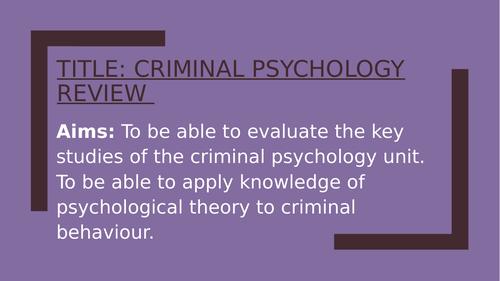 Psychology GCSE OCR- CRIME- revision lesson