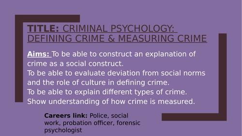 Psychology GCSE CRIME topic bundle