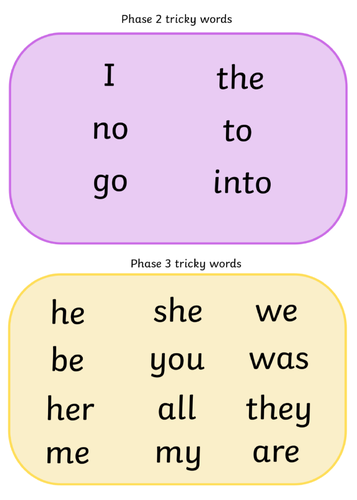 Phase 2-5 Tricky Word Mat