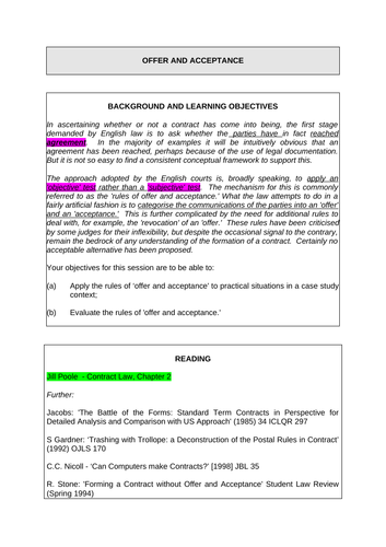 Contract law - offer and acceptance - (Law of Obligations)