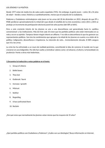 A - Level Spanish: Theme 4; Unit 10: Jóvenes de hoy, ciudadanos de mañana (All content + Homework)