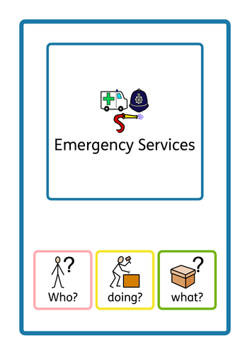 Colourful Semantics - Who doing what, Emergency services themed. Interactive book, SEN, ASD